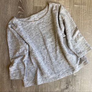 MADEWELL Cozy Grey Boxy-cut Sweatshirt 3/4 Sleeves